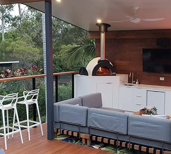 See how a complete wood fired oven would fit into your home