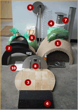 All the kit parts that come in an Alfresco wood fired oven kit